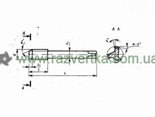 Метчик машинный для трубной резьбы (G), для глухих-сквозных отверстий, А3, В1, ГОСТ 3266 - чертеж
